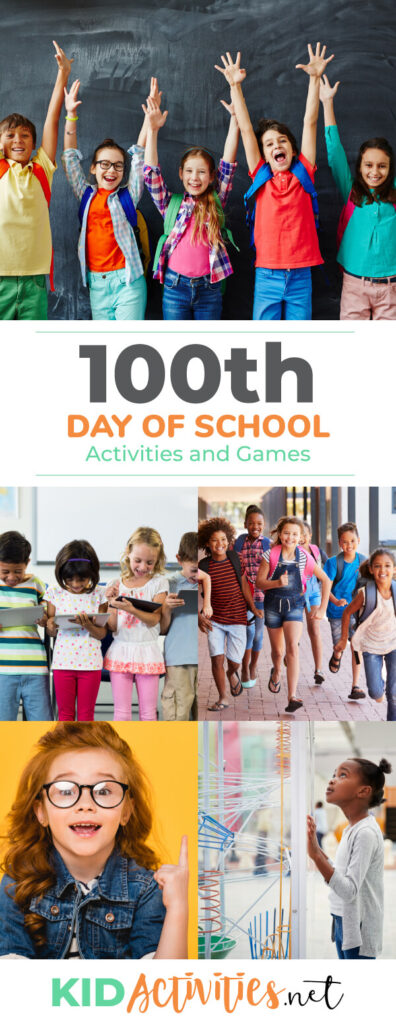 A collection of 100th day of school activities and games for kids.