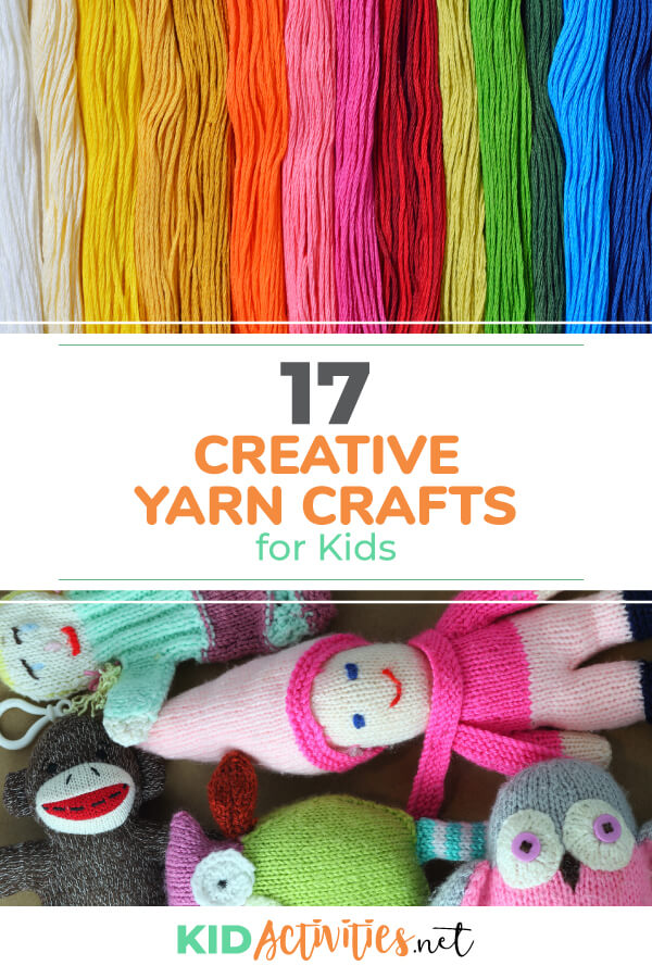 A collection of 17 creative yarn crafts for kids. Great entertainment and creative outlet for the little ones.