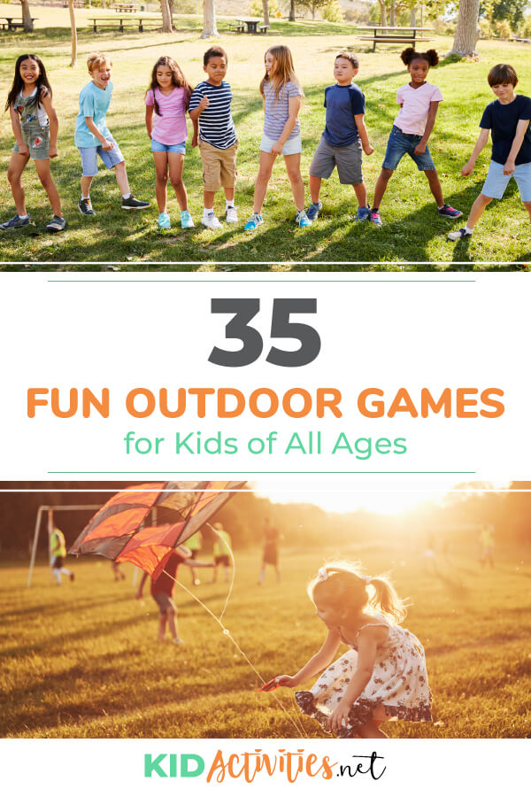 A collection of fun outdoor games for kids of all ages. These are great game ideas for the park, the playground, or in your own backyard. Kids will love being outdoors that much more with these activity ideas.