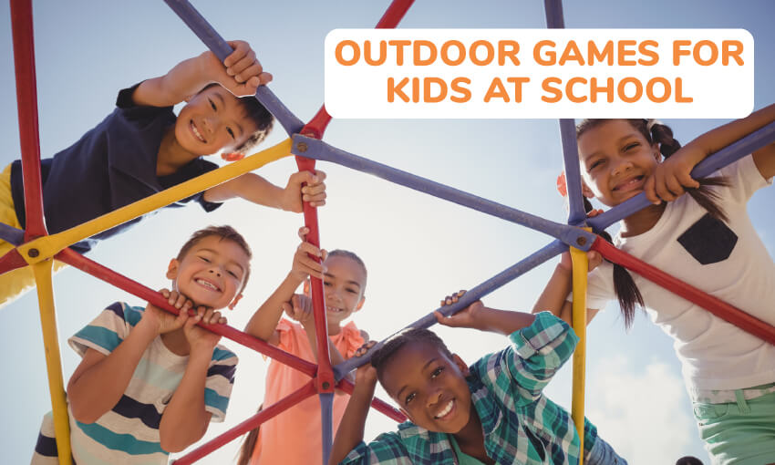 A collection of fun outdoor games for kids at school.