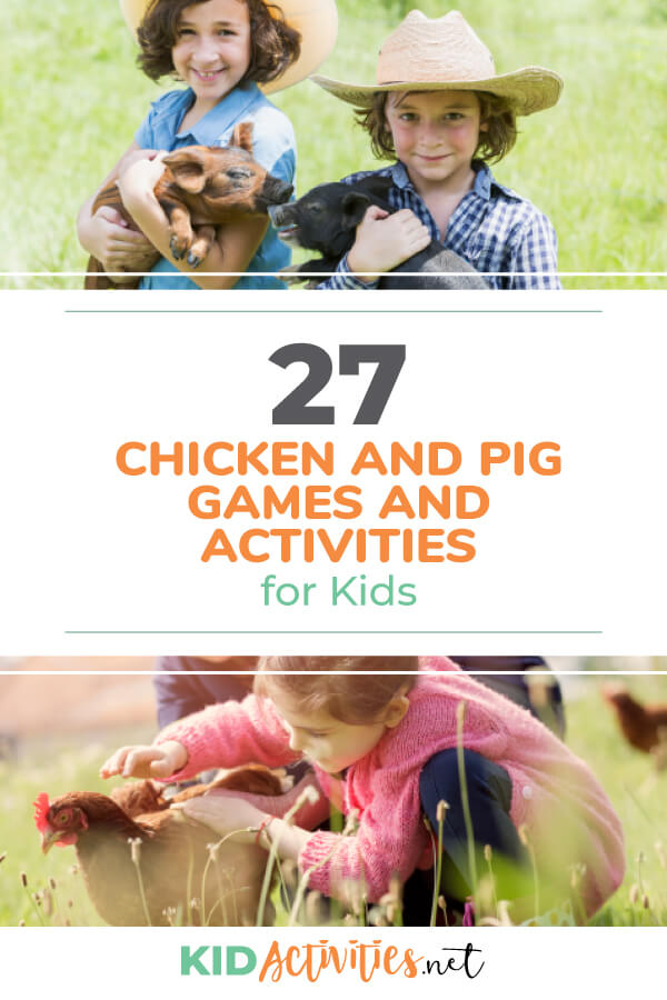 A collection of chicken and pig themed games and activities for kids. Great for a farm themed day.