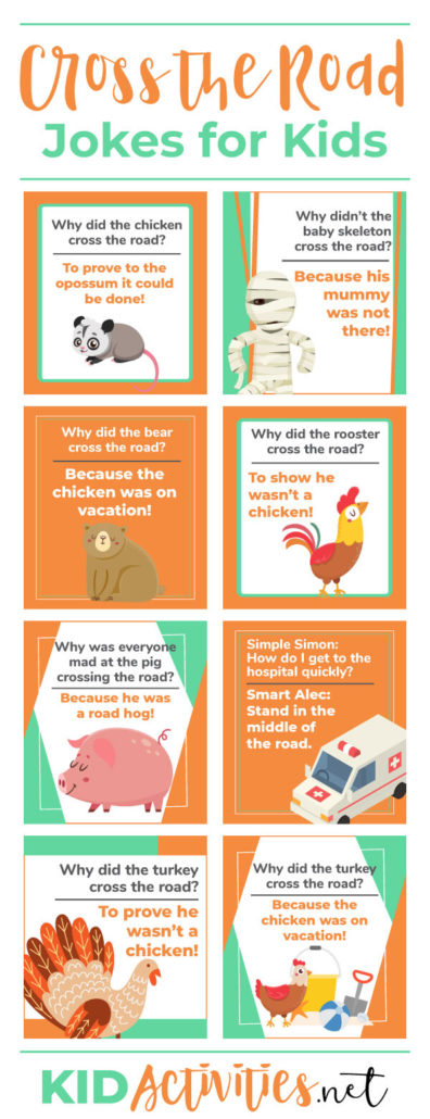 A collection of 23 cross the road jokes for kids. This is a great lunch box jokes print out for kids. Simply print off the jokes, cut the jokes out, and stick one into your kids lunch throughout the week.