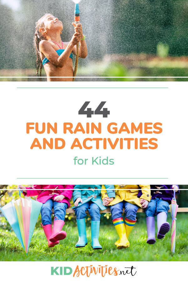 A collection of fun rain games and activities for kids. Great for rainy days whether they are at home or during school.