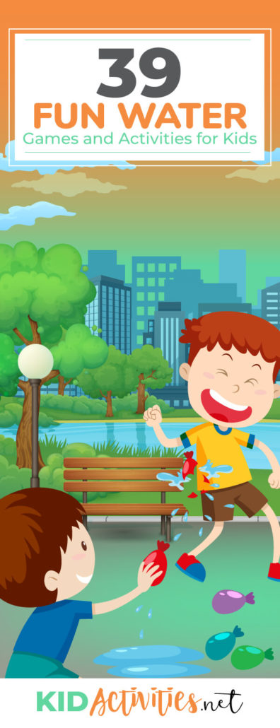 A collection of fun water game ideas for kids. Great for hot summer days. Games include water balloon games, sponge toss, relay race ideas, and much more. Great ways to stay active and cool.
