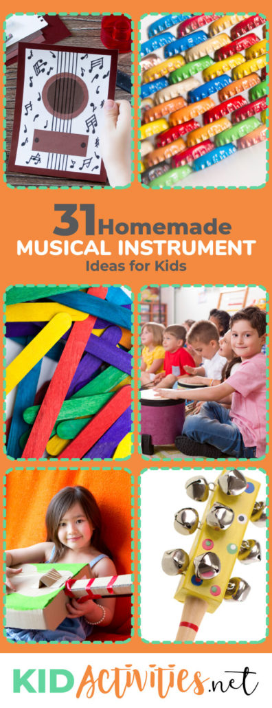A collection of 31 homemade musical instrument ideas for kids. Enjoy the creative aspects of building and playing musical instruments with kids. This is also a great green project for kids.
