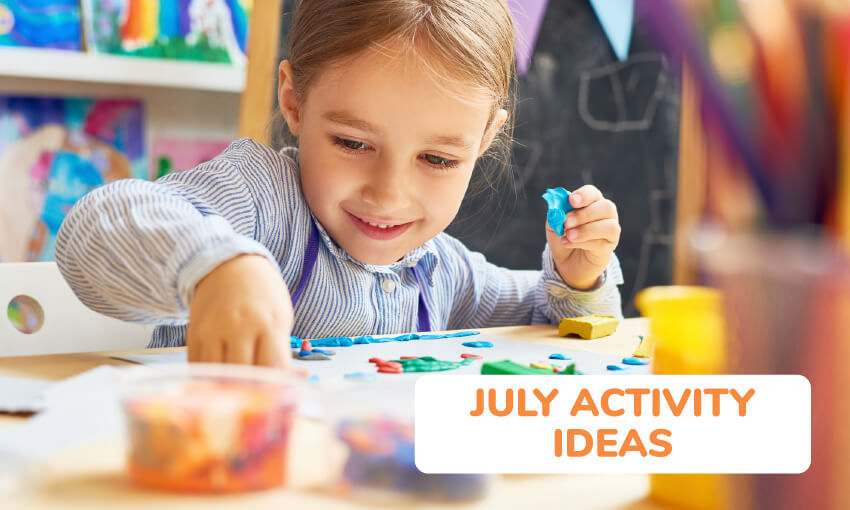 A collection of July activity ideas for kids.