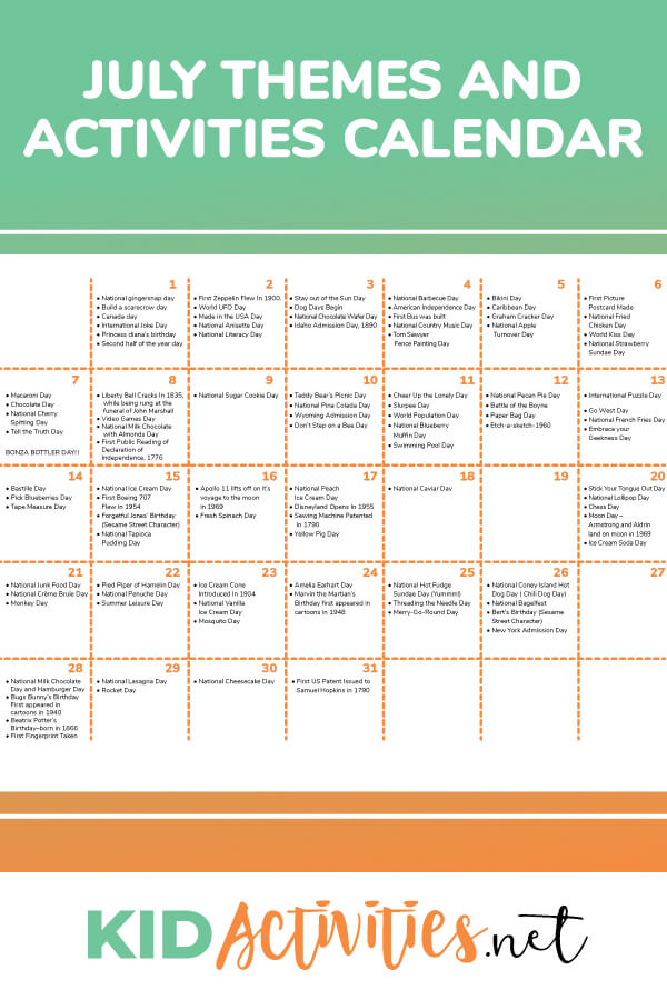 A July activity calendar. Great for planning out July lesson plans.