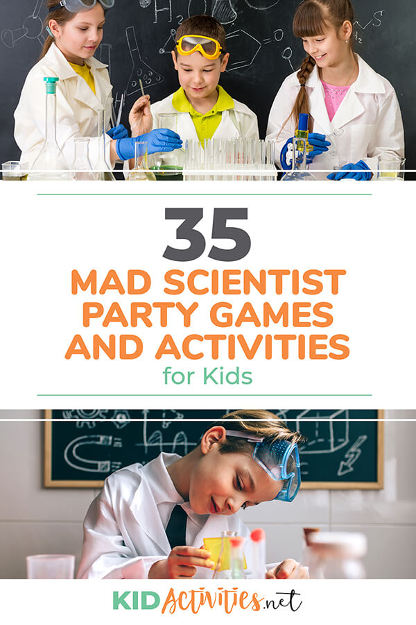 A collection of mad scientist party games and activities for kids. Great for party ideas and classroom science parties.