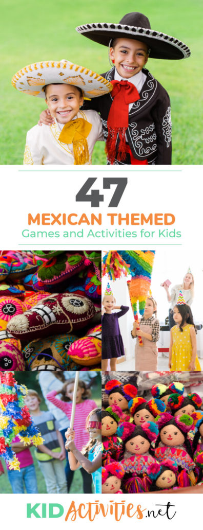 A collection of Mexican themed games and activities for kids. Great for a Mexican themed day or a Cinco De Mayo celebration.