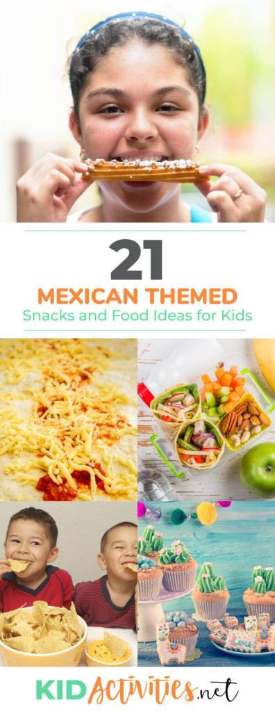 A collection of Mexican themed snacks and food ideas for kids. Great for a Mexican themed day or a Cinco De Mayo celebration.