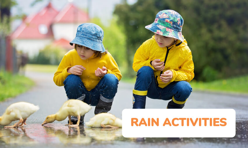 A collection of fun rain activities for kids.