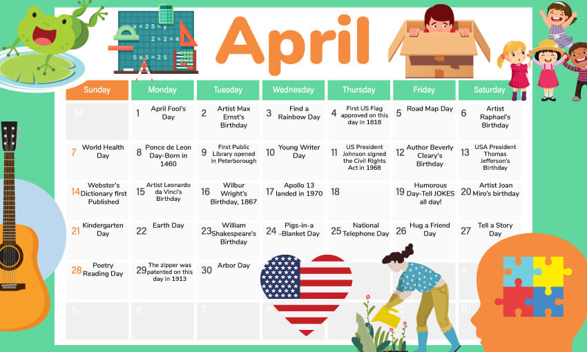 April activity calendar for the classroom. A great way to get theme ideas for the month of April.