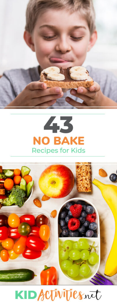 A collection of 43 no bake recipes for kids. These are great no cook recipes for the classroom or the home kitchen.