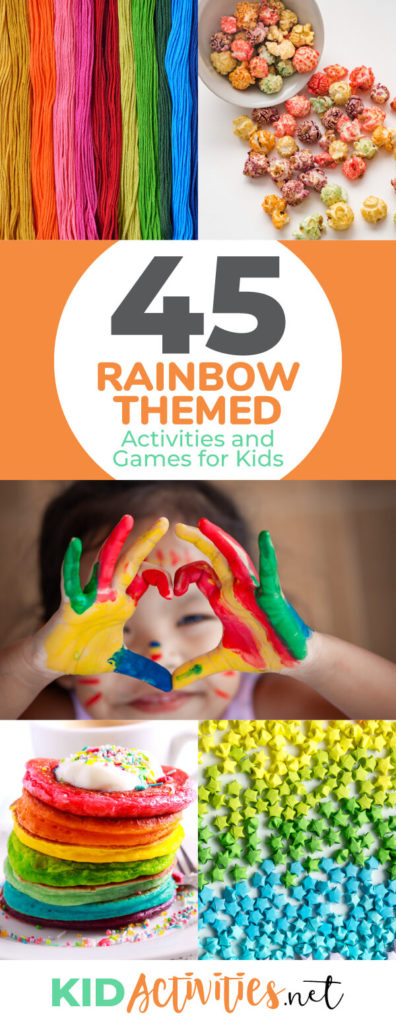 Need some rainbow theme ideas? These rainbow themed game and activities for kids will do the trick. Great for kids parties or classroom ideas.