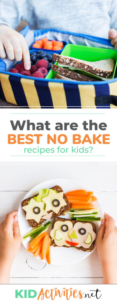 What are the best no bake recipes for kids? This extensive list of 43 no cook recipes for kids is a great way to get them started cooking. Enjoy these tasty treats.
