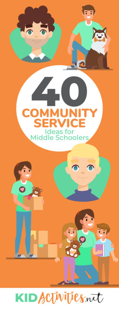 A collection of community service ideas for middle schoolers. Great opportunities for kids to learn and give back to the community.