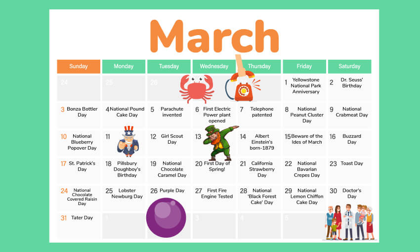 March activity calendar. Find great activities and themes for the days of March.
