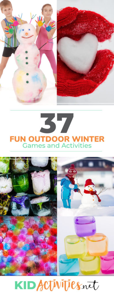 A collect of 37 outdoor winter games and activities for kids. These activity ideas are great for the playground or at home. Bundles the kids up and let them play.
