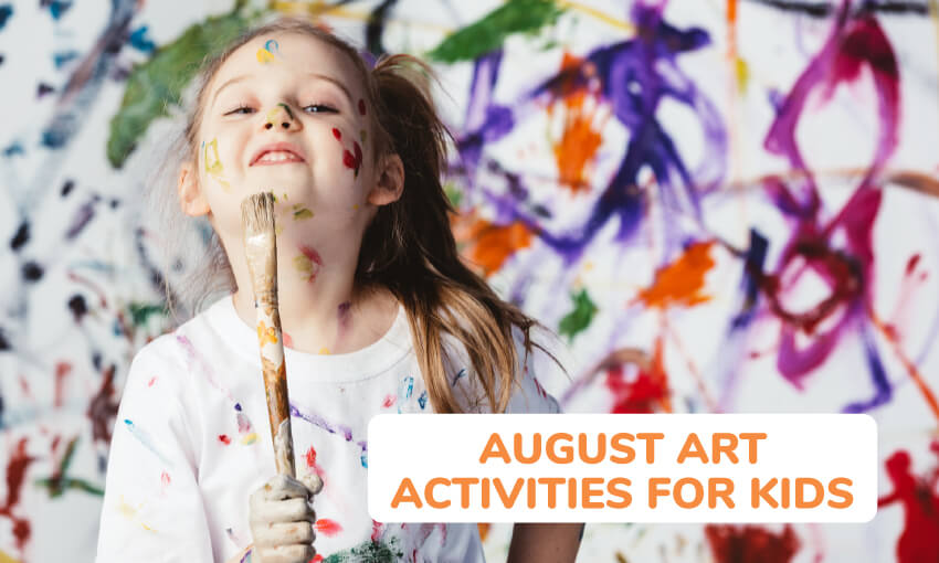 A collection of August art activity ideas for kids.