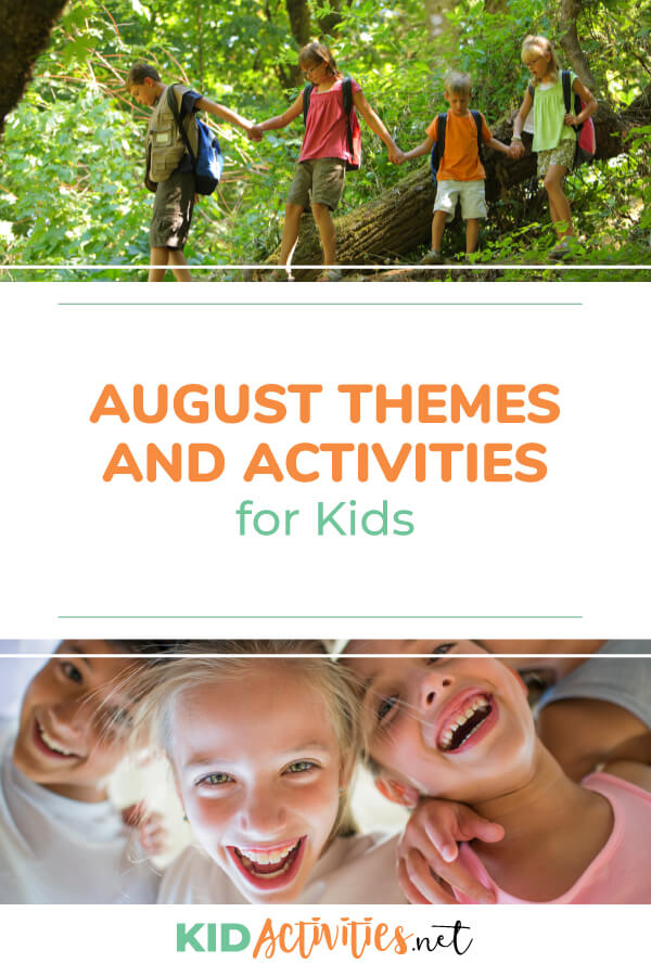 A collection of August themes and activities. Use this for as a summer calendar to keep kids learning and having fun.