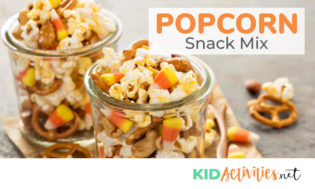 An amazing popcorn snack mix recipe for kids. Popcorn snack mix is a great classroom treat or great travel snack.