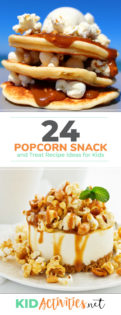 A collection of popcorn snacks and treats for kids. These snack ideas are great for a kids party as well as the classroom.