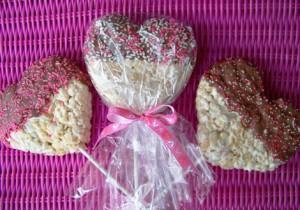 Rice Krispy valentine pops.