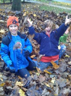 Leaf activities for kids. Jumping in piles of leaves is one of the classic fun fall activities.