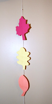 Leaf themed art and craft ideas including this leaf mobile.