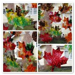 Leaf themed arts and crafts for kids. This leaf themed stained glass is a great fall activity for kids.