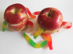 Wormy apple snack idea.