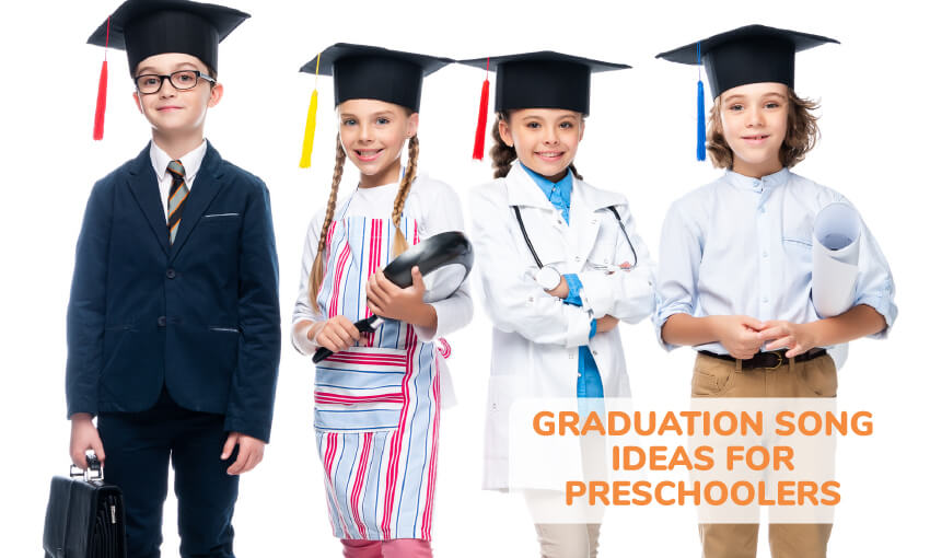 A collection of graduation song ideas for preschoolers.
