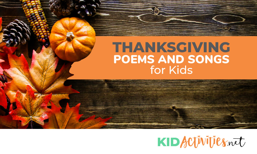 A collection of Thanksgiving poems and songs for kids. Great for the classroom or homeschool fun.