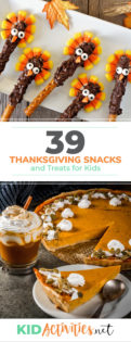 A collection of Thanksgiving snacks and treats for kids. Great snack ideas for a Thanksgiving party or a Thanksgiving classroom theme.