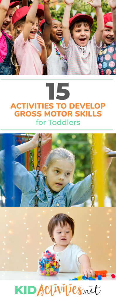 A collection of activities to help toddlers develop gross motor skills. Different activities ranging from 9 months all the way to 36 months old.