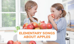 A collection of elementary songs about apples for kids to sing.