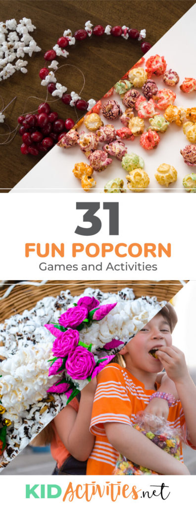 A collection of fun popcorn games and activities for kids. These popcorn ideas are great for a classroom theme day or for classroom parties. Enjoy these popcorn inspired games, art, crafts, and snack ideas for kids.