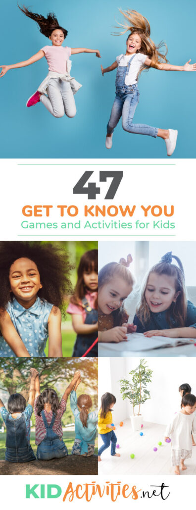 A collection of get to know you games and activities for kids. These activities are great icebreaker activities and are ideal for groups of kids just meeting. Great for the first day of school.