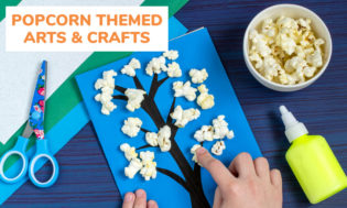 A collection of popcorn themed arts and crafts for kids.
