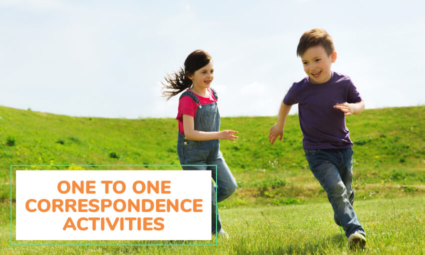 Some one to one correspondence activities for kids.