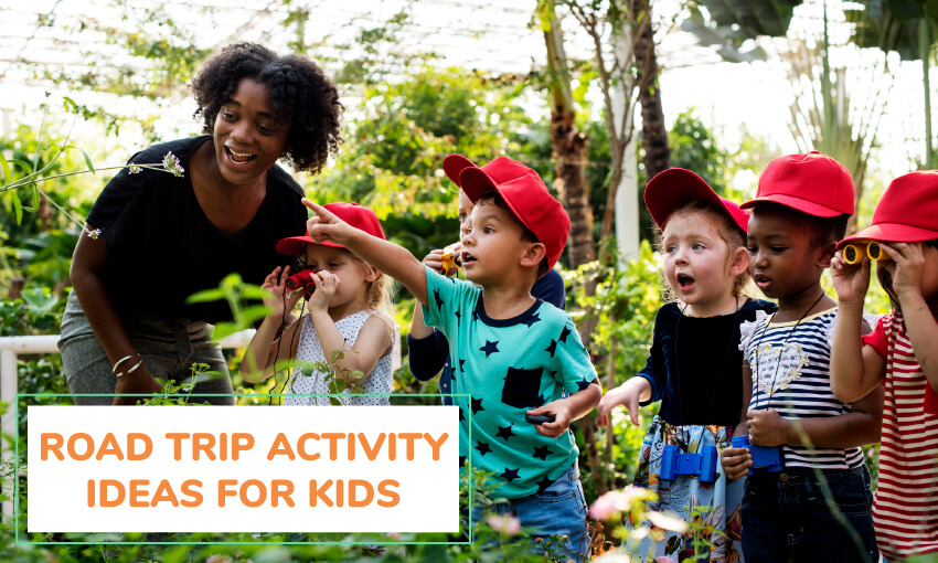 A collection of road trip activity ideas for kids.