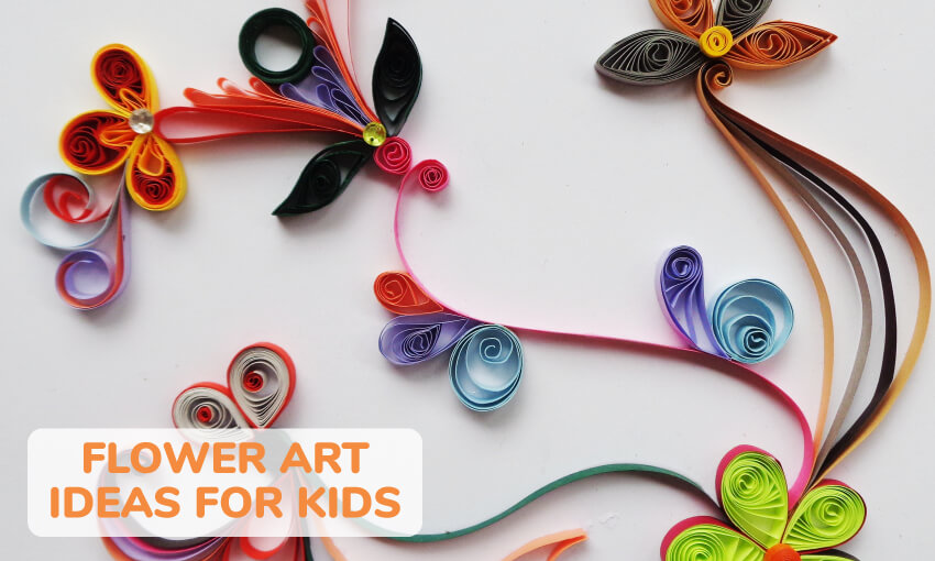 A collection of flower themed art ideas for kids.