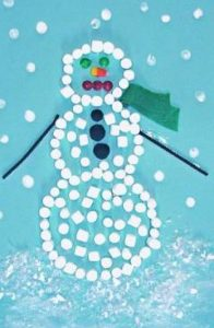 marshmallow snowman craft idea