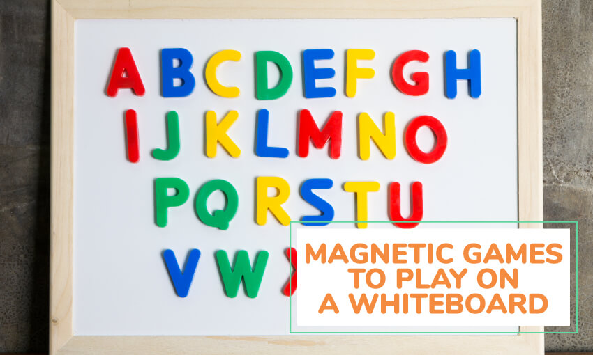A collection of magnetic games to play on a whiteboard.