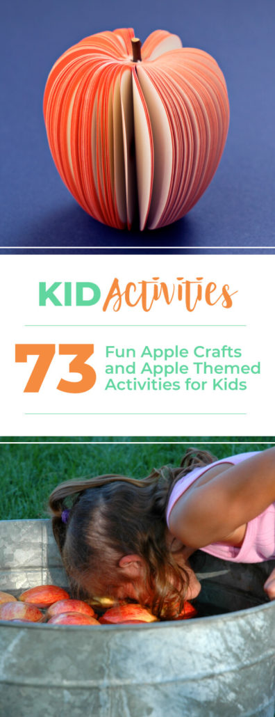 73 fun apple crafts and apple themed activities for kids including apple bulletin board ideas, apple themed art, apple recipes, apple riddles, popular apple varieties, and apple songs for preschool,