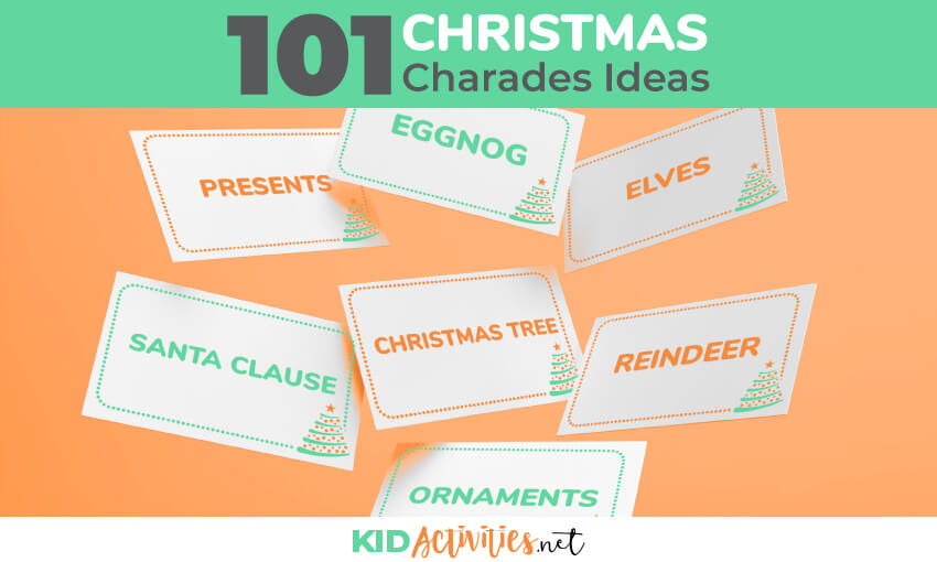 A collection of Christmas charades ideas for kids. Great for a Christmas classroom game or a Christmas party game for kids.