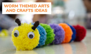 A collection of worm themed arts and crafts for kids.