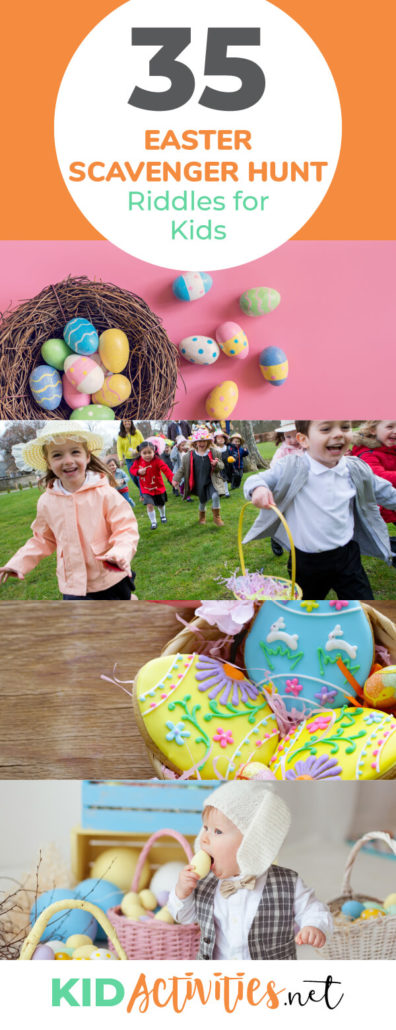 A collection of Easter scavenger hunt riddles for kids. Great Easter egg hunt ideas for school, home, or other events.