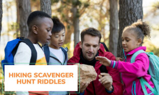 A collection of hiking scavenger hunt riddles for kids.