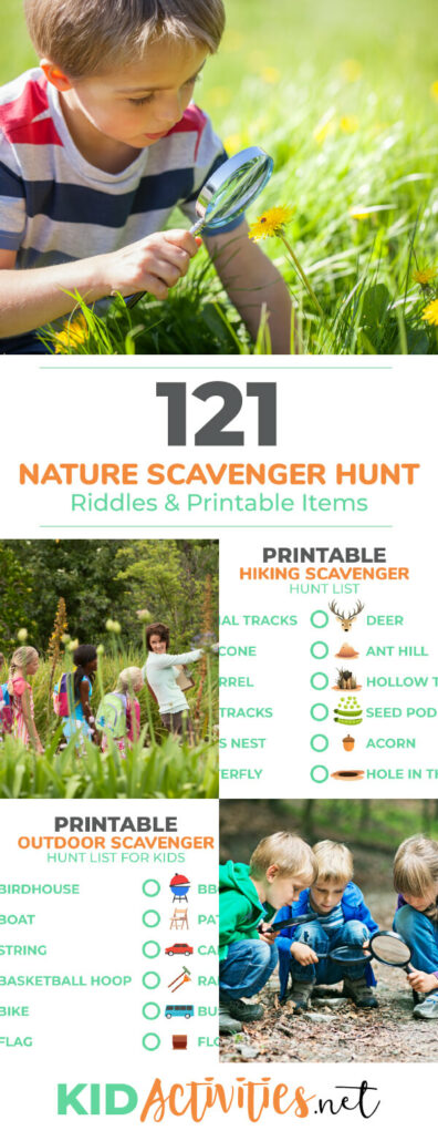 A collection of printable nature scavenger hunt lists for kids. Great for outdoor field trips, hiking, or taking the kids camping. Keep the kids engaged outdoors while they try to find the items on these lists.